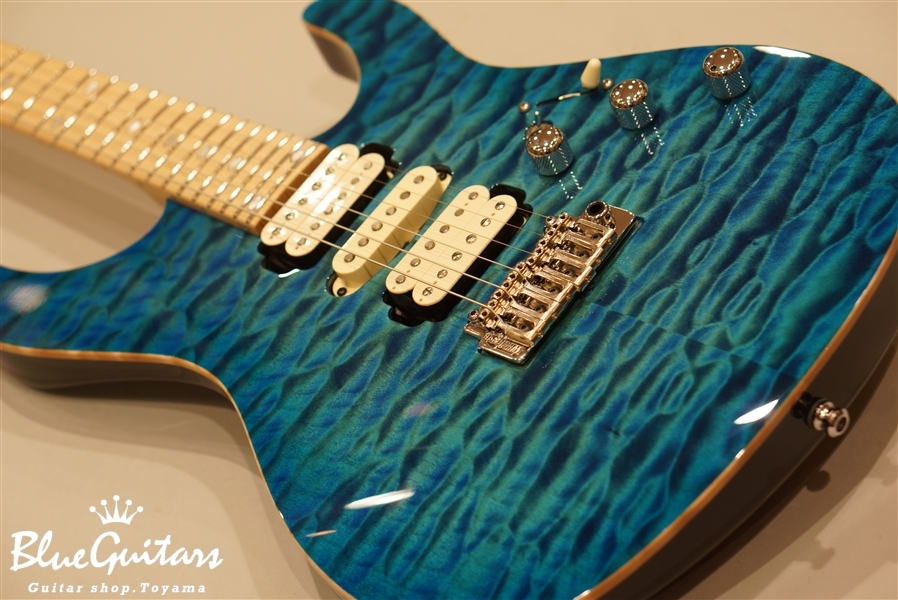 blue guitars hydra 24f 2point premium grade quilted maple top